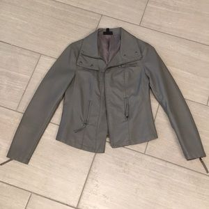 APT 9 gray faux leather jacket